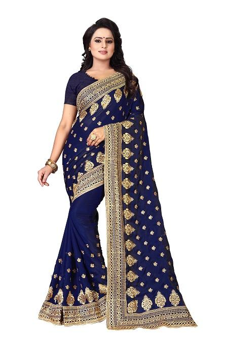 Buy Navy Blue Heavy Work Saree Online From YOYO Fashion