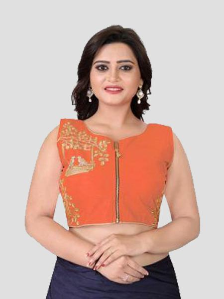 Buy Orange Embroidered Silk Blouse Online from YOYO Fashion