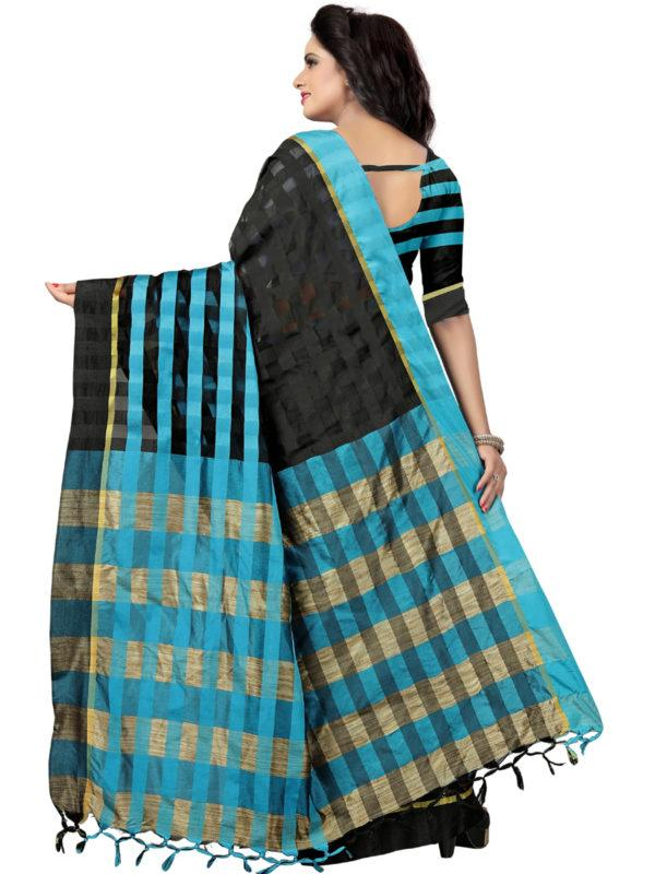 Back Pallu of Black and Blue Silk Saree - YOYO Fashion