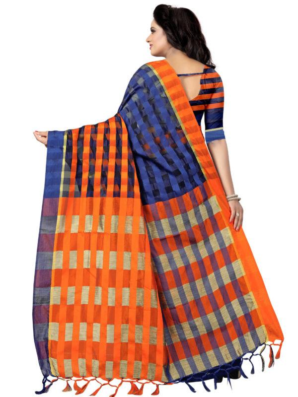 Back Pallu of Blue and Orange Silk Saree - YOYO Fashion