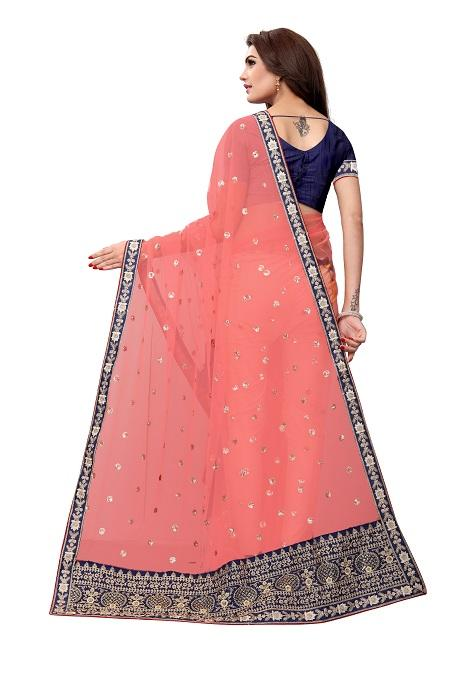 Pallu of Embroidered Peach Net Saree - YOYO Fashion