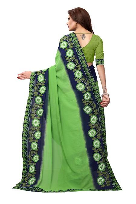 Pallu of Green Georgette Saree with Floral Embroidery - YOYO Fashion