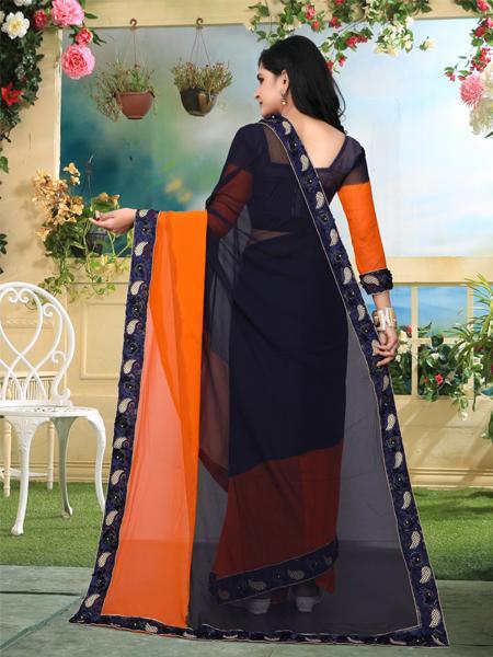 Back Pallu of Orange and Black Georgette Saree - YOYO Fashion