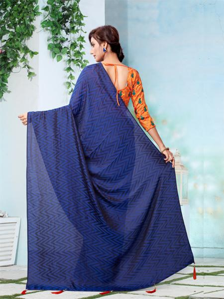 Buy Navy Blue Embroidered Saree With Blouse Online - YOYO Fashion