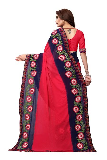 Pallu of Pink Georgette Saree with Floral Embroidery - YOYO Fashion