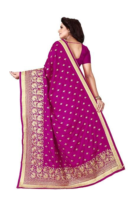Pallu of Pink Silk Saree with Border Embroidery - YOYO Fashion
