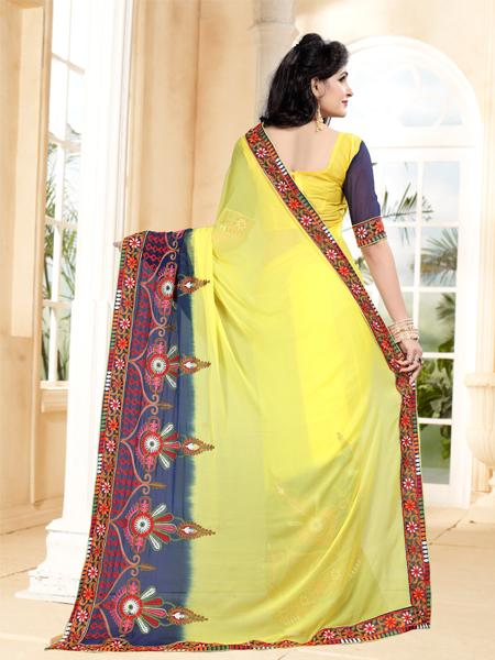 Back Pallu of Yellow Georgette Saree with Thread Work - YOYO Fashion