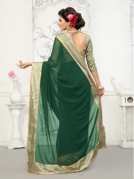 Back Pallu of Plain Green Georgette Saree with Border - YOYO Fashion
