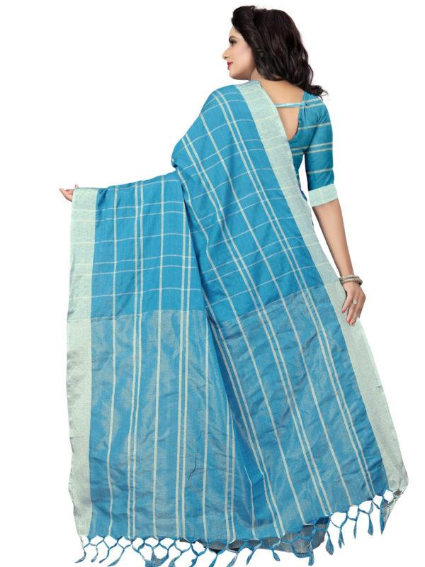 Back Pallu of Sky Blue Checked Linen Saree - YOYO Fashion