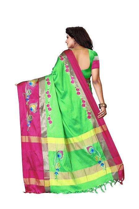 Pallu of Thread Work Red Green Polyester Saree - YOYO Fashion