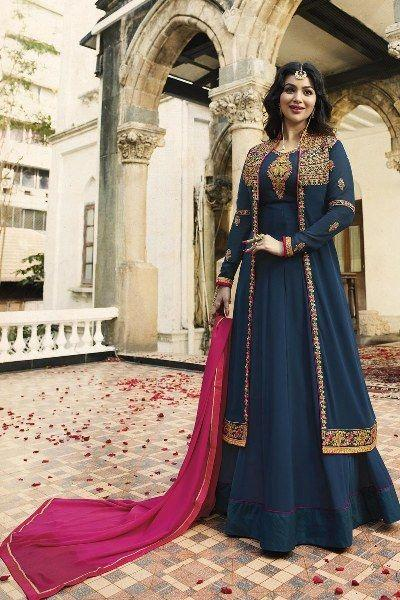Ayesha Takia Persian Blue Anarkali Suit with Koti