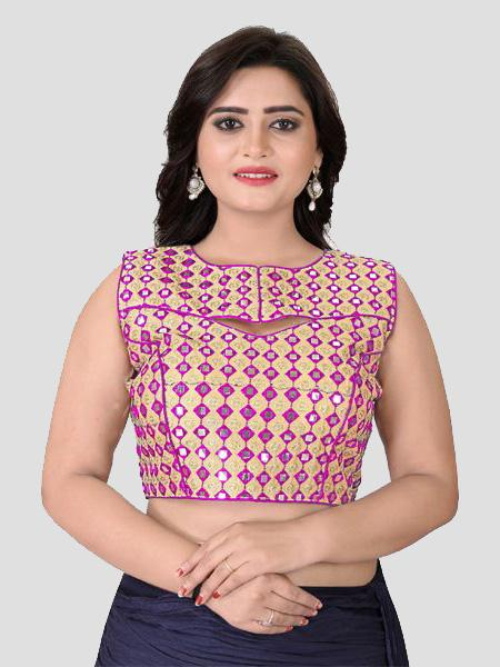 Buy Pink Mirror Work Blouse Online in India from YOYO Fashion