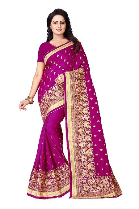 Buy Pink Silk Saree with Border Embroidery Online from YOYO Fashion