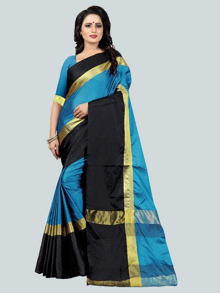 Buy Plain Sky Blue Silk Saree with Black Broad Border Online - YOYO Fashion