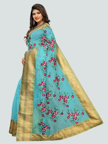 Buy Latest Poli Net Sky Blue Embroidered Saree Online On YOYO Fashion.