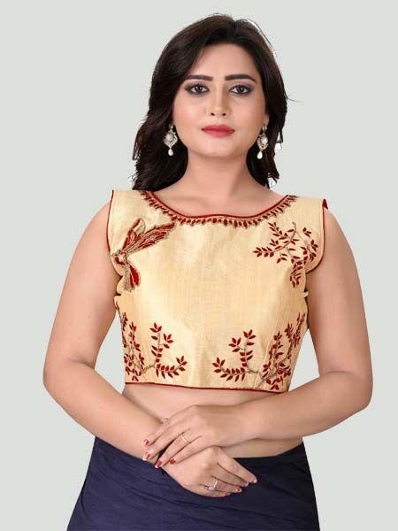 Buy Red Boat Neck Women's Stitched Blouse Online - YOYO Fashion