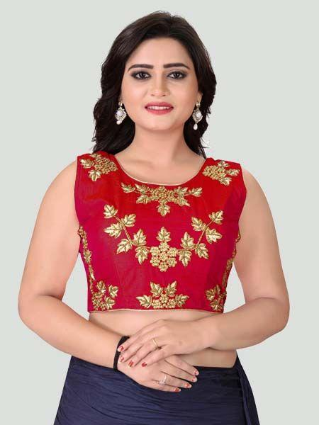 Buy Red Round Neck Women's Stitched Blouse Online -YOYO Fashion