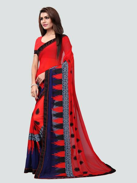 Buy Red Georgette Embroidery Saree Online - YOYO Fashion