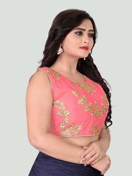 Light Pink Round Neck Women's Stitched Blouse Online - YOYO Fashion