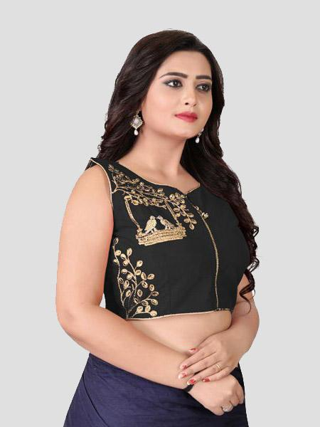 Right Side of Black Embroidered Blouse - YOYO Fashion