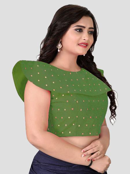 Right Side of Green Silk Blouse - YOYO Fashion