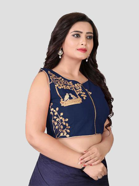 Right Side of Navy Blue Silk Blouse - YOYO Fashion