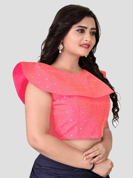 Right Side of Peach High Neck Embroidered Blouse - YOYO Fashion