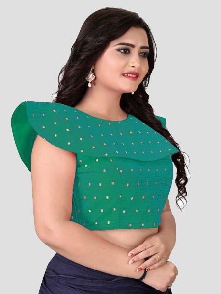 Right Side of Turquoise Silk blouse - YOYO Fashion