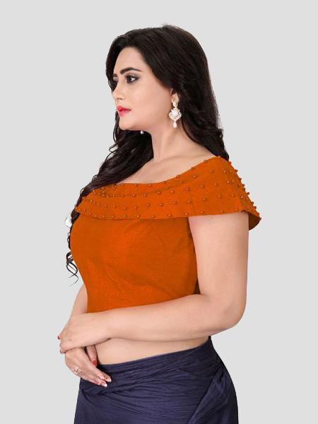 Right Side of Orange Boat Neck Solid Blouse Online - YOYO Fashion