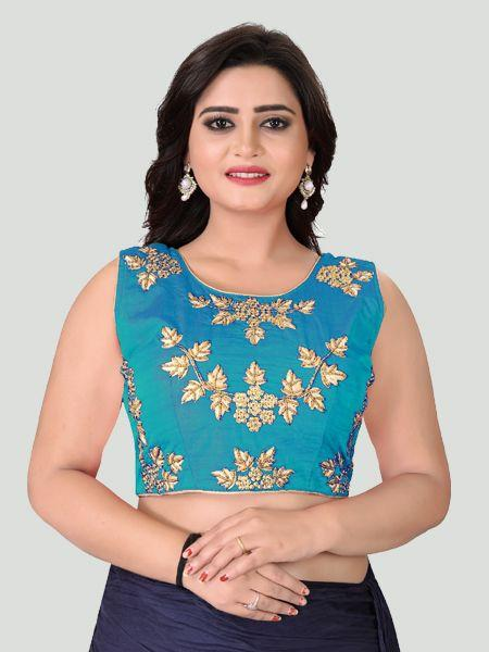 Buy Turquoise Round Neck Women's Stitched Blouse Online in India- YOYO Fashion