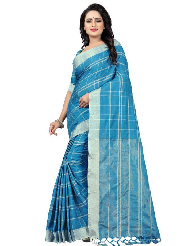 Shop Sky Blue Checked Linen Sarees Online from YOYO Fashion