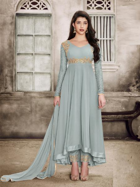 Buy Sparky Grey Anarkali Salwar Suit Design Online - YOYO Fashion
