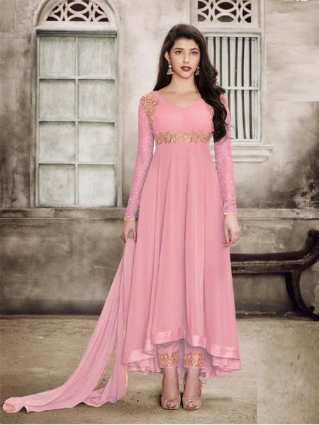 Buy Sparky Pink Anarkali Salwar Suit Online - YOYO Fashion