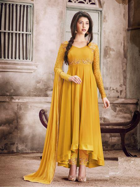 Buy Sparky Yellow Anarkali Salwar Suit Online - YOYO Fashion