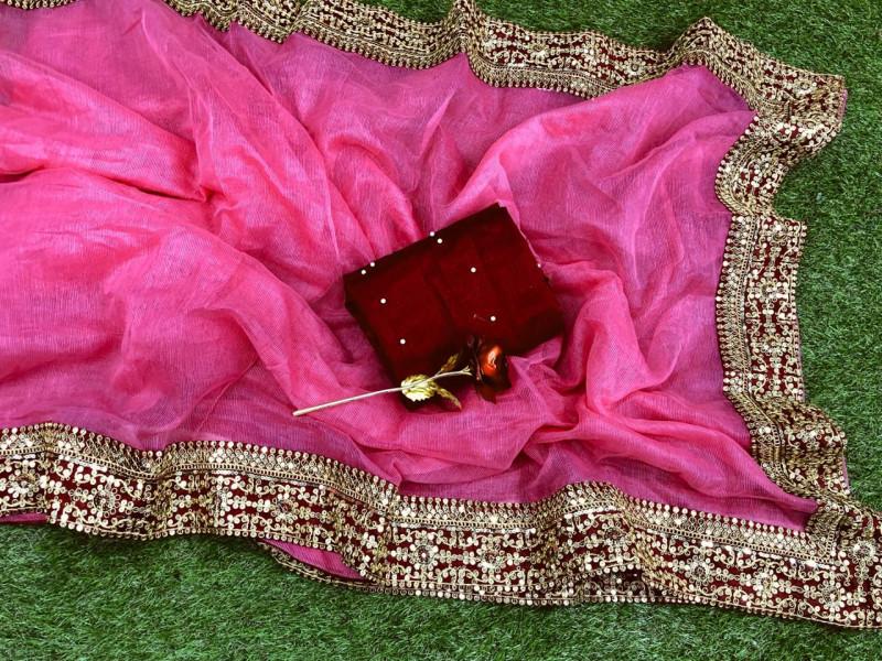 Pink Heavy Cotton Super Net Saree With Bangalory Silk Blouse