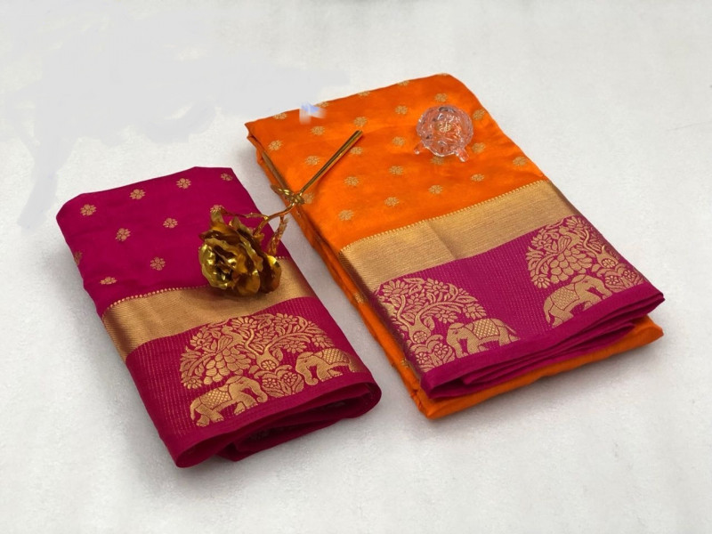 Traditional Partywear Orange-Pink Colour Kanjivaram Silk Saree With Blouse