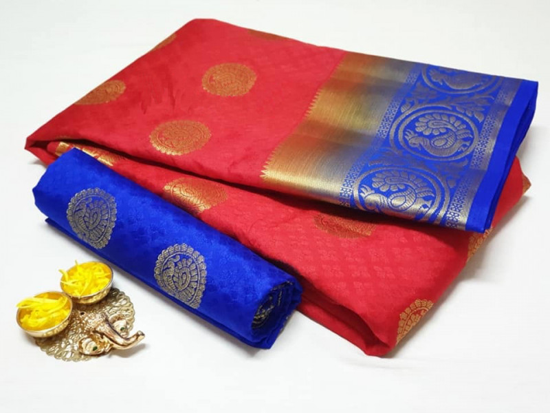 New Disney Red Soft Kanjivaram Silk With Blouse Piece