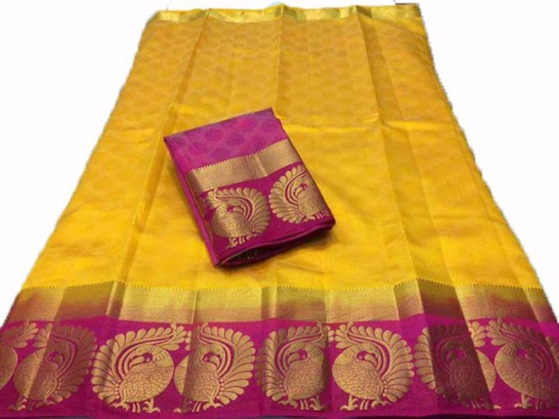 Twin Mor Yellow_Pink Kanjivarm Silk Sarees With Blouse