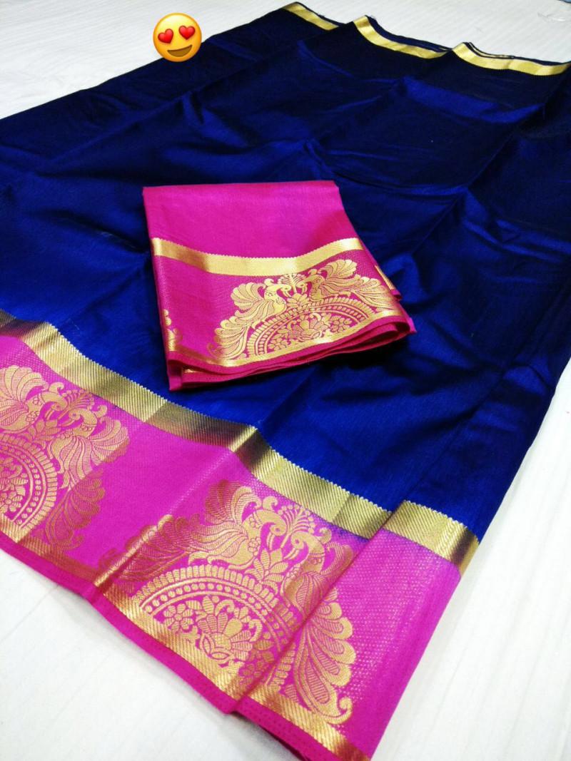 Blue Pink Colour Kanjivarm Silk Saree With Blouse