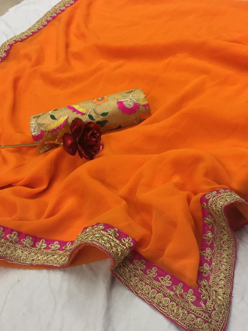 New Arrival Partywear Orange Colour Vichitra Silk Saree