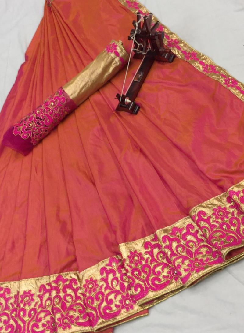 Attractive Pink Party wear Designer Marble Silk Saree