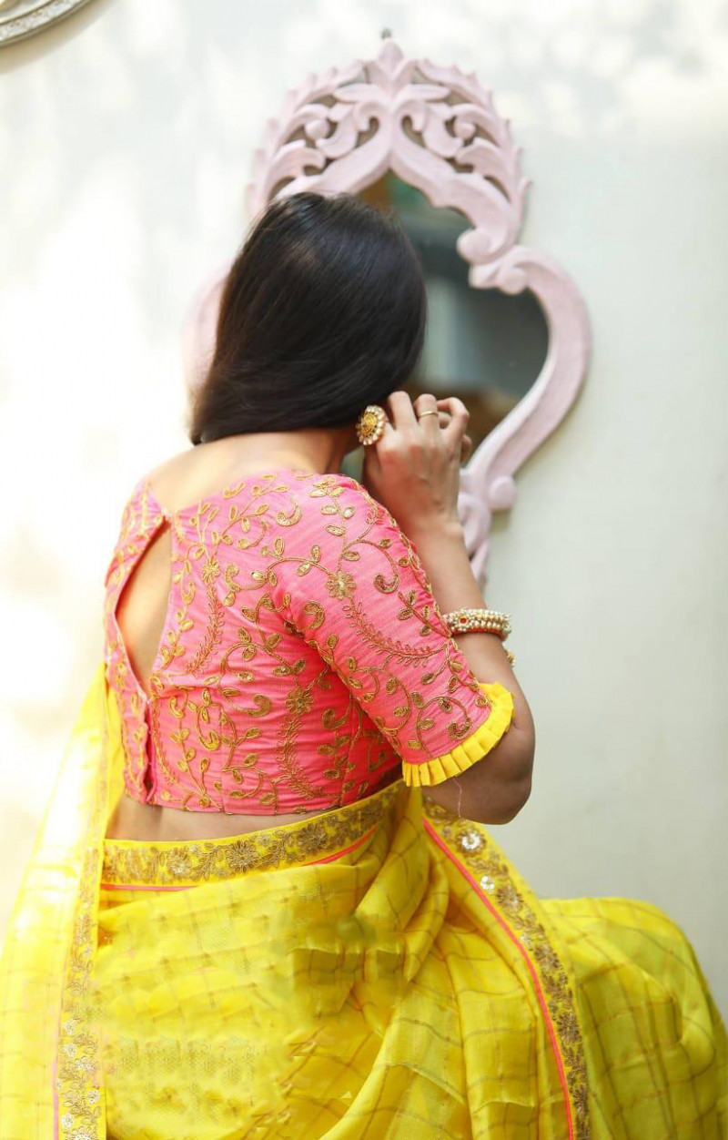 Yellow Cotton Checks With Sequence Embroidery Saree With Blouse