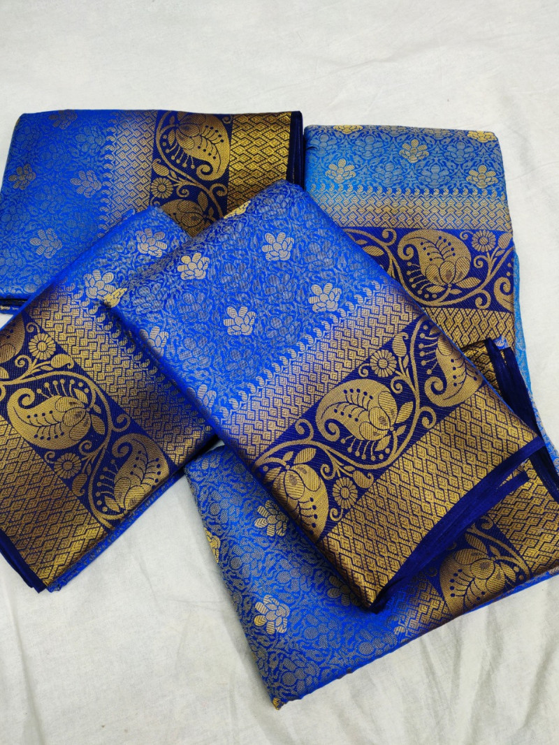 Blue Soft Banarasi Silk Weaving saree With Blouse Piece