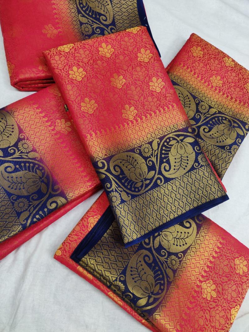 Gajri Soft Banarasi Silk Weaving saree With Blouse Piece