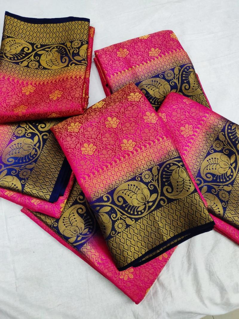 Pink Soft Banarasi Silk Weaving saree With Blouse Piece