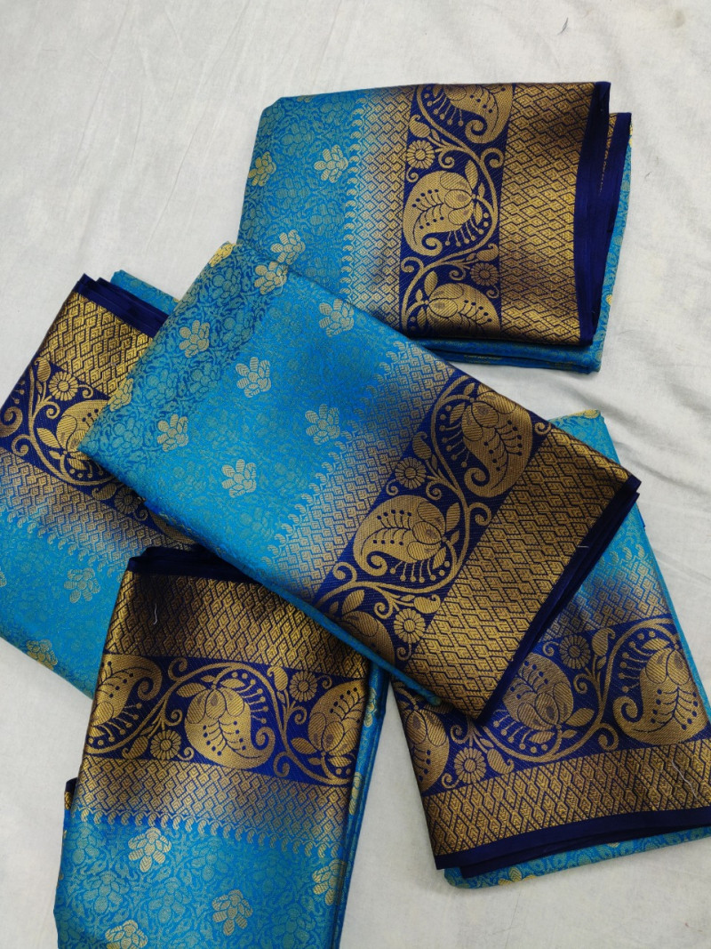 Sky Blue Soft Banarasi Silk Weaving saree With Blouse Piece