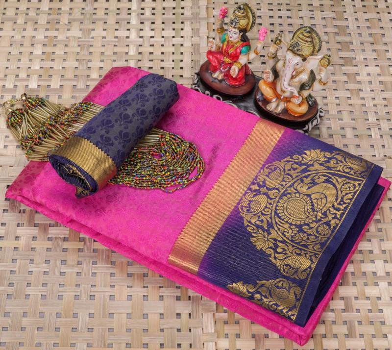 Pink Soft Silk Kanjivaram Saree With Blouse Piece