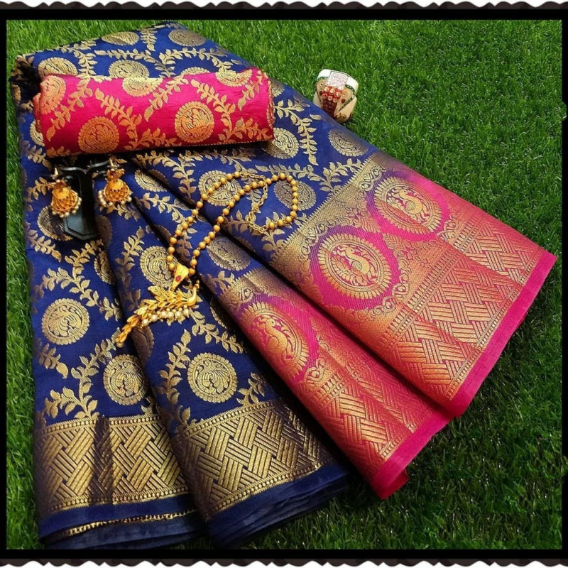 Navy Blue Moonga Soft Silk Rich pallu Saree With Blouse Piece
