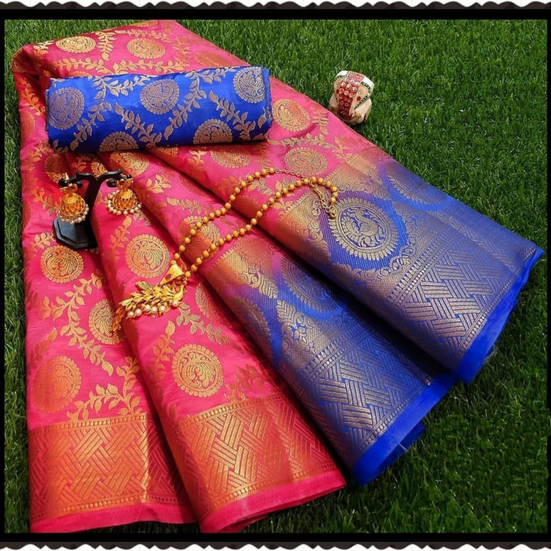 Pink Moonga Soft Silk Rich pallu Saree With Blouse Piece