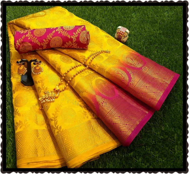 Yellow Moonga Soft Silk Rich pallu Saree With Blouse Piece